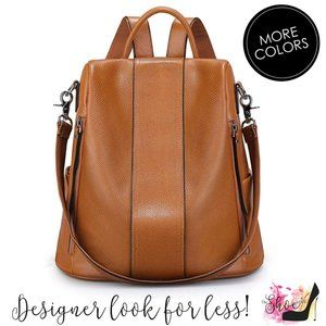 Adult Leather Luxury Backpack - 4 Way Carry